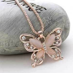 Jewelry - Opal Butterfly Pendant on Rose Gold Chain